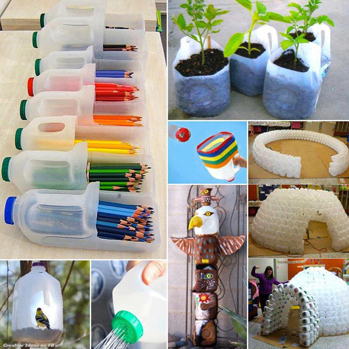 Awesome ideas to recycle plastic bottles into something for Creative ideas from waste