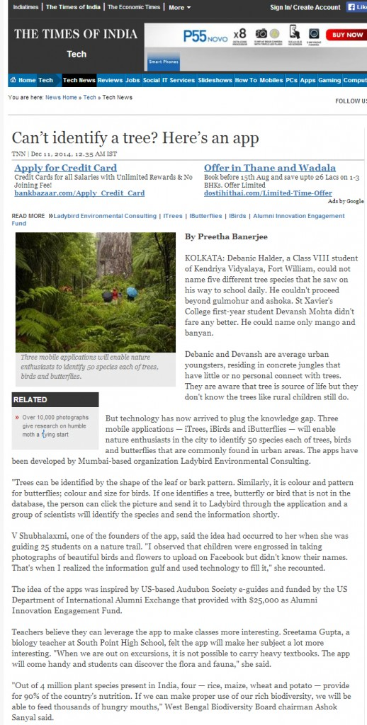 Timesofindia- TOI- lycodonfx-mobile apps for nature conservation -